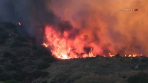 The Reche Fire burns near Moreno Valley on Oct. 10, 2019. (Credit: LoudLabs)