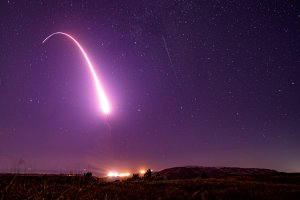 An unarmed Minuteman III intercontinental ballistic missile launches during an operational test at 1:13 a.m. on Oct. 2, 2019 at Vandenberg Air Force Base. (Credit: U.S. Air Force Photo by Staff Sgt. J.T. Armstrong)