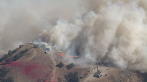 The Saddleridge Fire burned near the Aliso Canyon gas facility on Oct. 11, 2019. (Credit: Sky5)