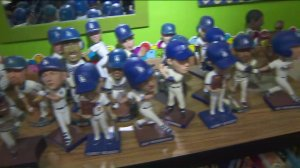 Some of the roughly 200 bobblehead dolls in Lang's classroom. (Credit: KTLA)