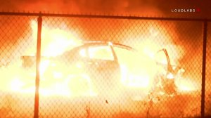 A car believed to have sparked the 46 Fire is seen on Oct. 31, 2019. (Credit: Loudlabs)