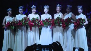 The 2020 Tournament of Roses Royal Court poses for photos after Camille Kennedy, center, was crowned as queen at a ceremony in Pasadena on Oct. 22, 2019. (Credit: KTLA)