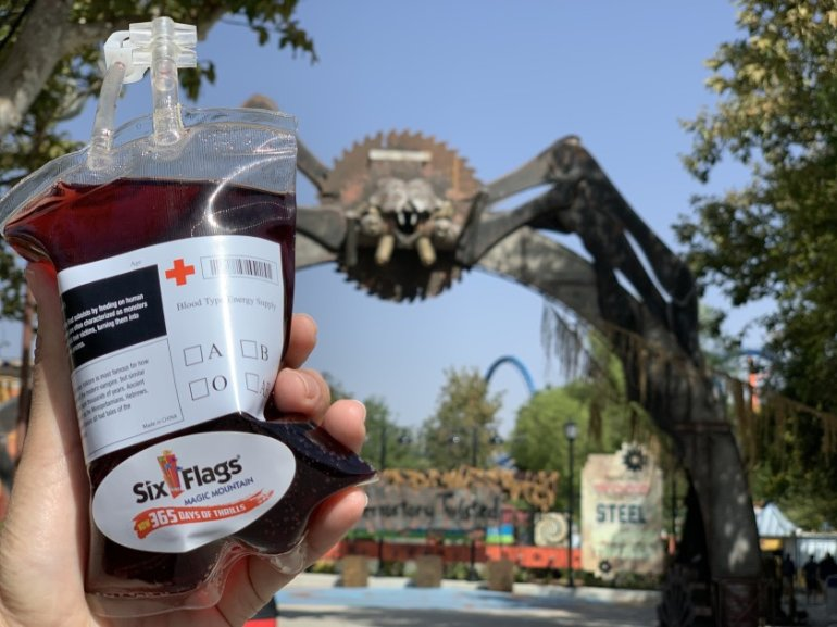 A sangria drink in what looks like an IV blood bag being sold at Six Flags Magic Mountain in Valencia is seen in an undated photo provided by the park.