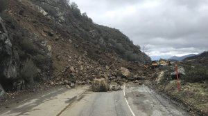 A section of the Angeles Crest Highway is seen during repairs of a Feb. 15, 2018, rock slide. (Credit: Caltrans)