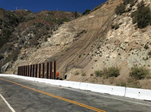 Newly constructed metal netting and barriers are seen along Angeles Crest Highway after it reopened on Oct. 22, 2019. (Credit: Caltrans)
