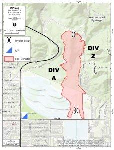 The perimeter of the Old Water Fire in San Bernardino as of Oct. 25, 2019. (Credit: San Bernardino County Fire District.)
