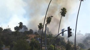 Smoke rises from a grass fire in El Sereno on Oct. 11, 2019. (Credit: KTLA)