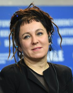 Picture taken on February 12, 2017 shows Polish author Olga Tokarczuk during a press conference at the Berlinale film festival in Berlin, Germany. (Credit: BRITTA PEDERSEN/dpa/AFP via Getty Images)
