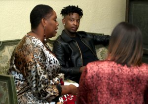 Patrisse Cullors and 21 Savage speak backstage at the NILC Courageous Luminaries Awards honoring 21 Savage on Oct. 3, 2019 in Los Angeles. (Credit: Jerritt Clark/Getty Images for NILC)