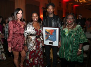 Tammy Brook, founder of FYI Brand Group, Patrisse Cullors, founder Black Lives Matter, 21 Savage and Nana Gyamfi attend the NILC Courageous Luminaries Awards honoring 21 Savage on Oct. 3, 2019, in Los Angeles. (Credit: Jerritt Clark/Getty Images for NILC)
