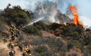 Firefighters work during a wildfire threatening nearby hillside homes in the Pacific Palisades on Oct. 21, 2019. (Credit: Mario Tama / Getty Images)