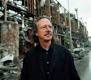 "An undated file photo shows Austrian writer and dramatist Peter Handke at the ""Zastava"" factory destroyed by NATO air strikes in Kraguevac. (Credit: STR/AFP/Getty Images)"
