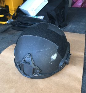 A Los Angeles Police Department SWAT officer's helmet was struck by a bullet during a shootout with a suspect in the South Park neighborhood of South Los Angeles on June 5, 2017. (Credit: Los Angeles Police Department)