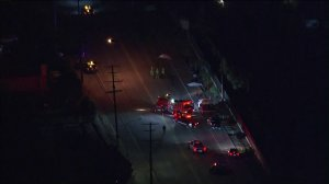 Two horses died and two riders were badly hurt in a hit-and-run in Lakeview Terrace on Oct. 25, 2019. (Credit: KTLA)