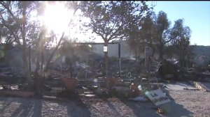 This Canyon Country home, pictured on Oct. 25, 2019, was destroyed in the Tick Fire. (Credit: KTLA)