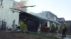 A burned home is seen in the Santa Clarita area during the Tick Fire on Oct. 25, 2019. (Credit: KTLA)