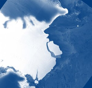 Iceberg D-28 is seen in an image from ESA Sentinel-1A via Australia Antarctic Division