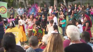 Thousands of people celebrate Indigenous Peoples Day in Los Angeles on Oct. 13, 2019. (Credit: KTLA)