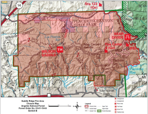 The map shows sections of the Angeles National Forest that are closed due to the Saddleridge fire. (Credit: Angeles National Forest)