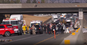 Law enforcement close off interstate 215 after an officer was injured in a crash in the Grand Terrace area on Oct. 22, 2019. (Credit: RMG News)