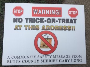 The Butts County Sheriff's Office released this photo of the sign on Oct. 21, 2019.