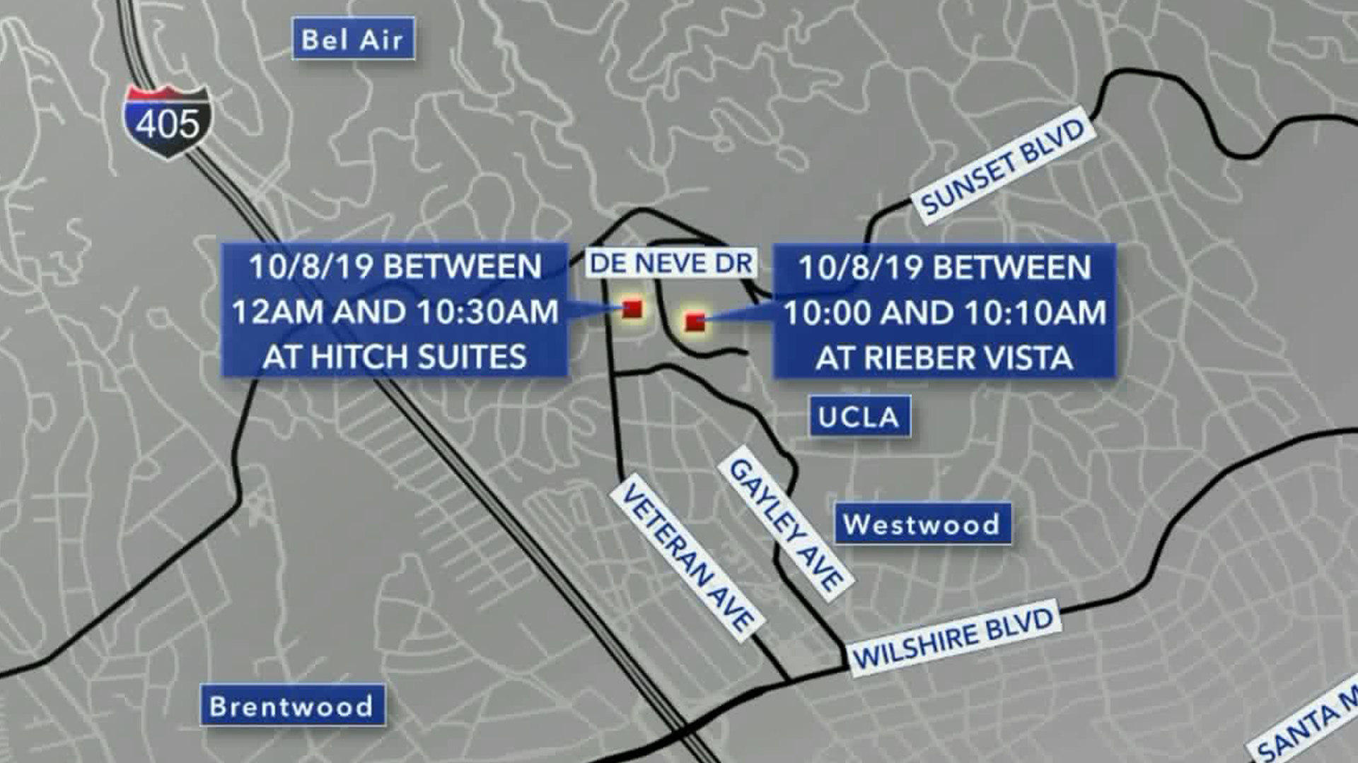 The locations of the burglaries are seen in this map. (Credit: KTLA)