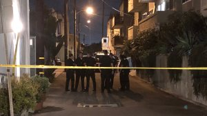 Police detained a man after his wife was found suffering from multiple stab wounds in Venice on Oct. 4, 2019. (Credit: KTLA)