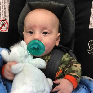 Baby RJ is seen in a photo posted to a GoFundMe account.