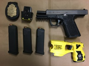 Police in Costa Mesa seized these items while arresting a woman they say was impersonating a police officer on Nov. 1, 2019. (Credit: Costa Mesa Police Department)