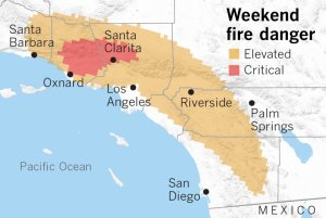 A map of Southern California areas that are at risk of wind-driven wildfires this weekend. (Credit: Paul Duginski / Los Angeles Times)