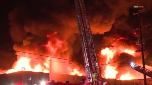 Flames consume a building in North Hollywood the night of Nov. 1, 2019. (Credit: RMG News)