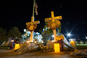 A memorial to the students killed in the Saugus High School shooting is seen at a vigil held in Santa Clarita on Nov. 17, 2019. (Credit: Apu Gomes / Getty Images)