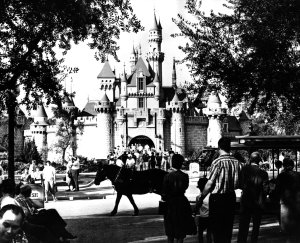 Tourists visiting the medieval 'Sleeping Beauty Castle' at Disneyland circa 1960. (Credit: Keystone/Getty Images)