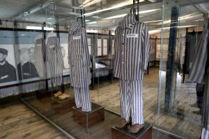 Striped uniforms on display at the Stutthof concentration camp are seen on July 18, 2017, in Gdansk, Poland.  (Credit: Chris Jackson/Getty Images)