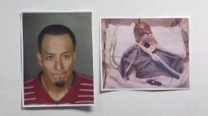 Emilio Perez, 34, is seen in photos displayed at an LAPD news conference on Nov. 27, 2019. (Credit: KTLA)
