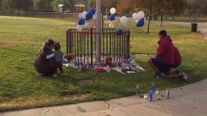 A memorial is seen at Central Park near Saugus High School in Santa Clarita on Nov. 15, 2019. (Credit: KTLA)