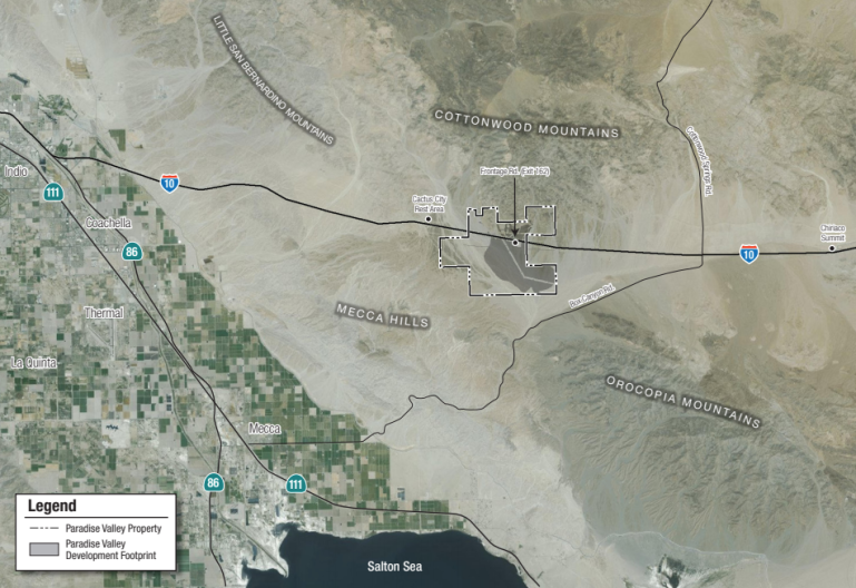 The proposed location of the Paradise Valley development is seen on a map from an environmental impact report released by the Riverside County Planning Department.