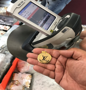 Investigators tested lead and cadmium concentration levels in counterfeit jewelry during an investigation on Nov. 7, 2019, in the DTLA Jewelry District. (Credit: LAPD)