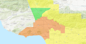 Regions highlighted in orange show where officials measured air quality levels that are unsafe for sensitive groups on Nov. 11, 2019. (Credit: South Coast Air Quality Management District)