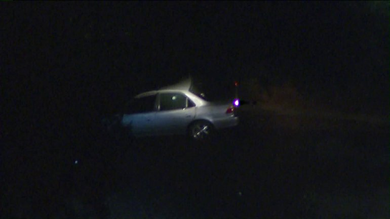 A car is seen with bullet holes in its windows following a shooting in Pasadena on Nov. 1, 2019. (Credit: KTLA)
