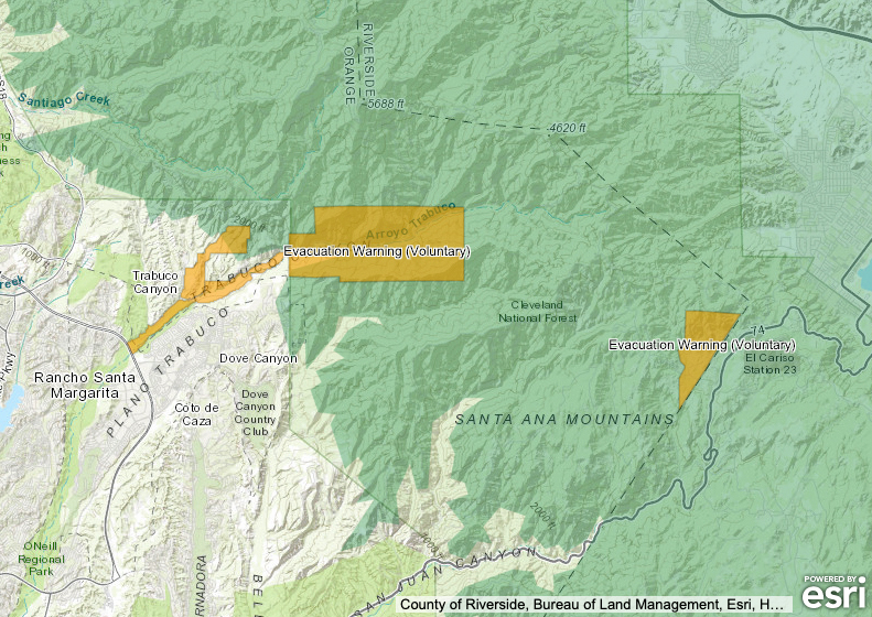 Voluntary evacuation zones are seen in this map posted on the Orange County Sheriff's Department's website.
