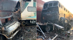 Photos released by the L.A. County Sheriff's Department show the aftermath of a crash between a Metrolink train and an RV in Santa Fe Springs on Nov. 22, 2019.