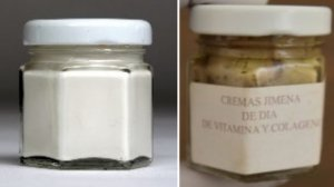 """On the left, a cream marketed """"Crema Esparza"""" and on the right, a product labeled """"Crema Jimena"""" are seen in photos provided by the California Department of Public Health."""