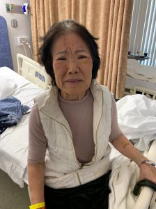 An unidentified woman receiving medical care who officials hope to identify is seen in a photo released Nov. 19, 2019, by the San Bernardino County Sheriff's Department.