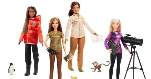 Barbies as scientists are seen in this photo released by Mattel in 2019.
