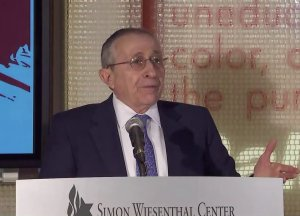 Rabbi Marvin Hier of the Simon Wiesenthal Center speaks on Dec. 30, 2019, at the Museum of Tolerance. (Credit: KTLA)