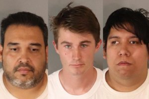 Armando Gonzalez (left), Christopher Rivers (center), and Juan Flores (right) arrested by Riverside police.