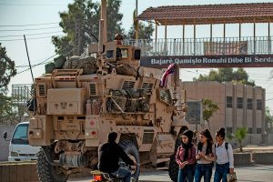 A U.S. military vehicle is pictured east of the Kurdish-controlled northeastern Syrian city of Qamishli on Nov. 13, 2019. (Credit: Delil Souleiman / AFP / Getty Images)