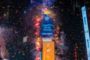 Revelers at Times Square during the New Year's celebration on Jan. 1, 2020 in New York City. (Credit: David Dee Delgado/Getty Images)