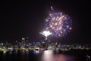 Fireworks are seen exploding from the Auckland's Waitemata Harbour and Sky Tower during the Auckland New Year's Eve celebrations on January 01, 2020 in Auckland, New Zealand. (Credit: Steve Thomson/Getty Images for ATEED)